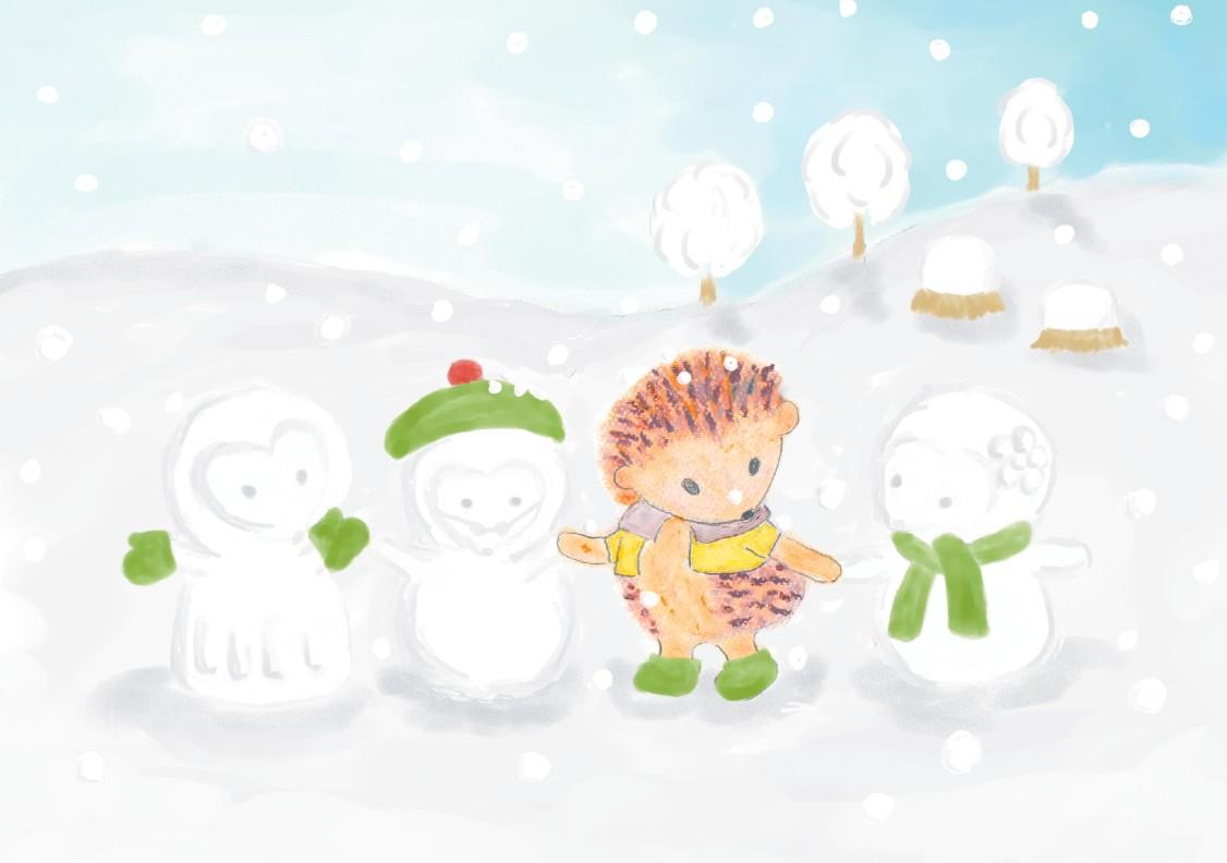 ヘジカ雪だるまと一緒の絵